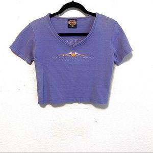 Vintage 1998 Harley Davidson Purple Crop Top